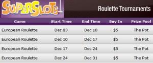 tournaments dec 2009 superslots